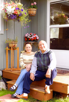 couple on steps of opal home