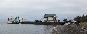 house arrives by barge